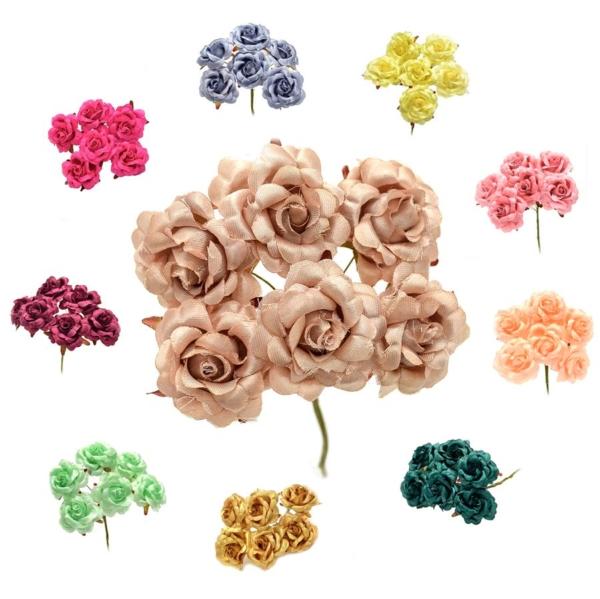 Ramillete blanche, elaborado con flores realizadas en tela