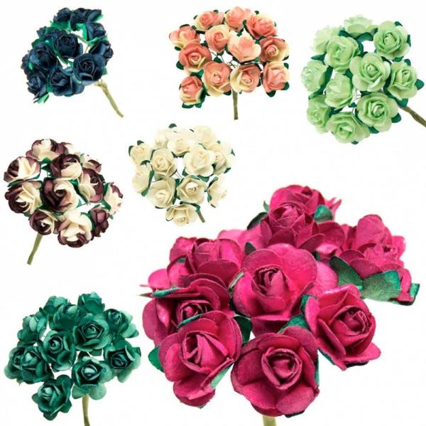 Ramillete Rosa de Té, flores realizadas en papel