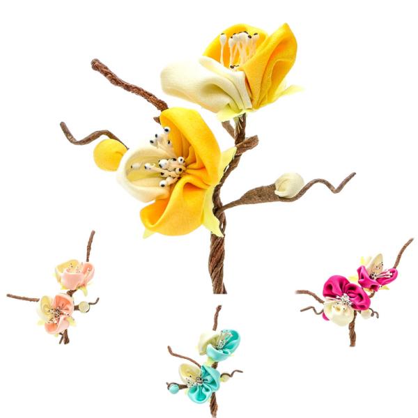 Ramillete Enya, elaborado con flores realizadas en tela