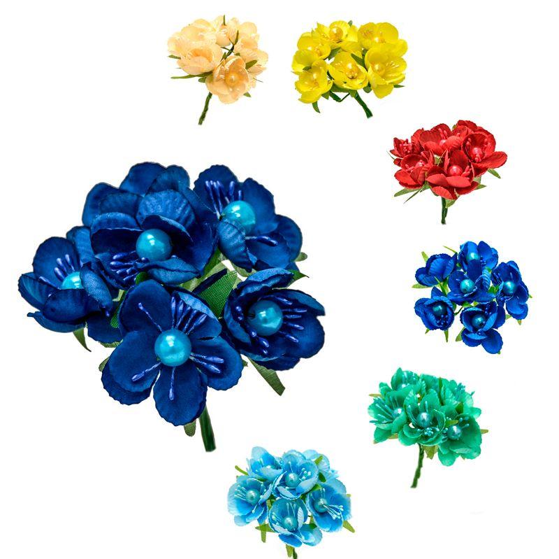 Ramillete Colette, flores realizadas en tela con pistilos