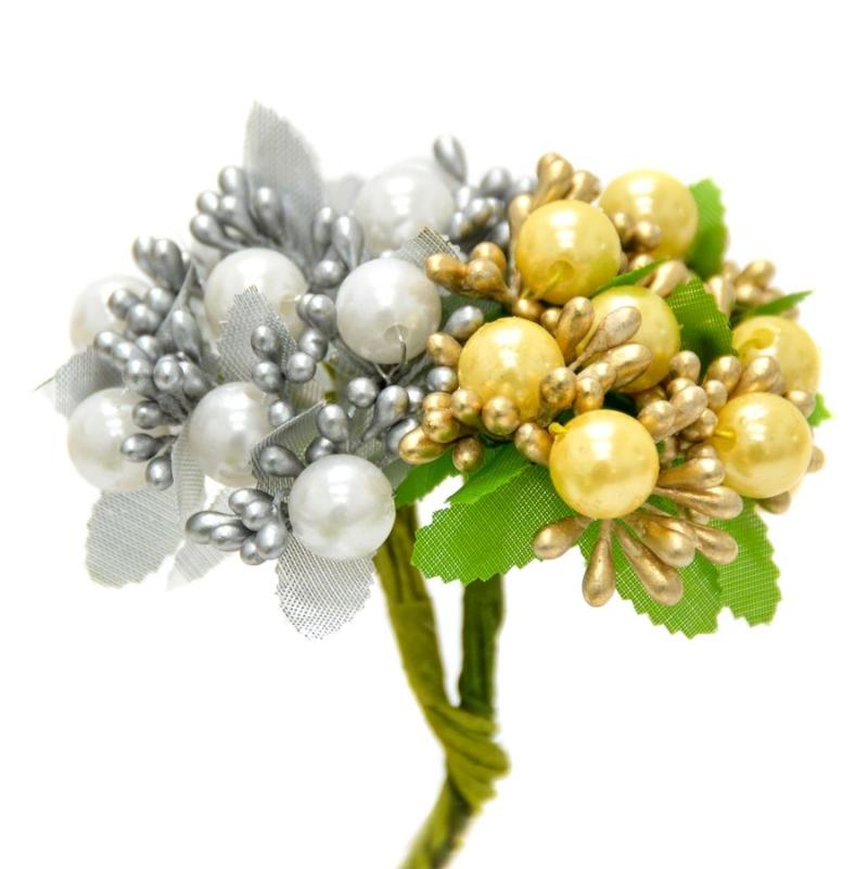 Ramillete Dorian, con flores en color metal