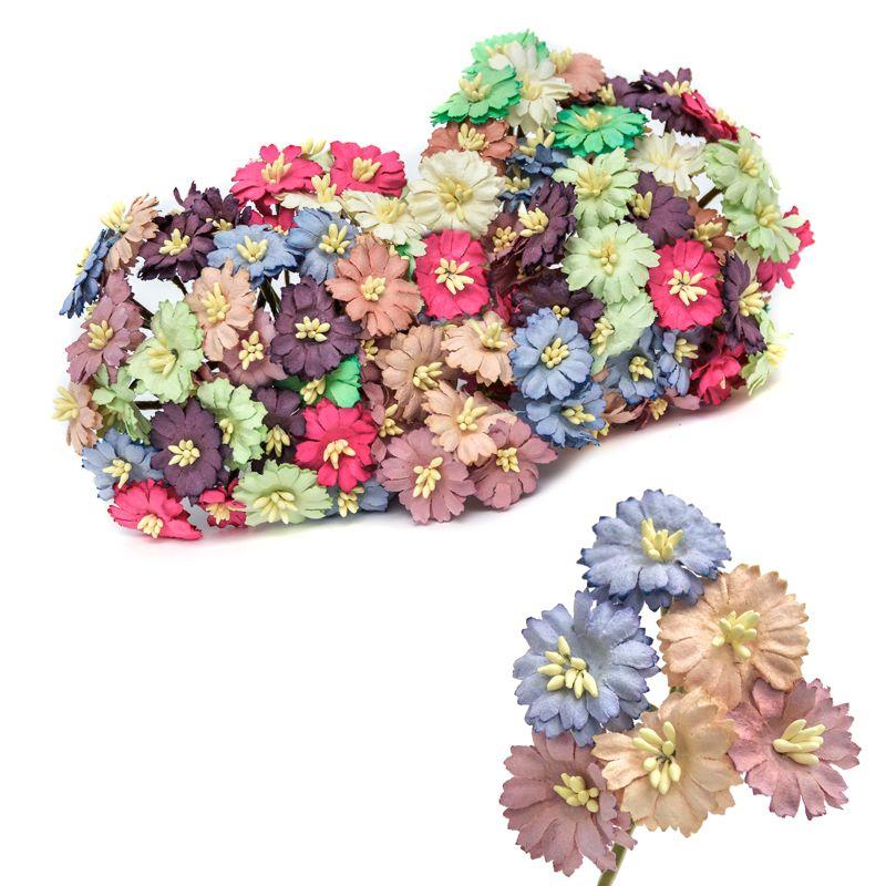 Ramillete Daizy, con flores alambradas, en papel con pistilos.