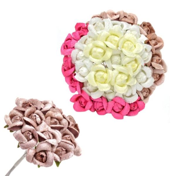 Ramillete Mariann, con flores de terciopelo