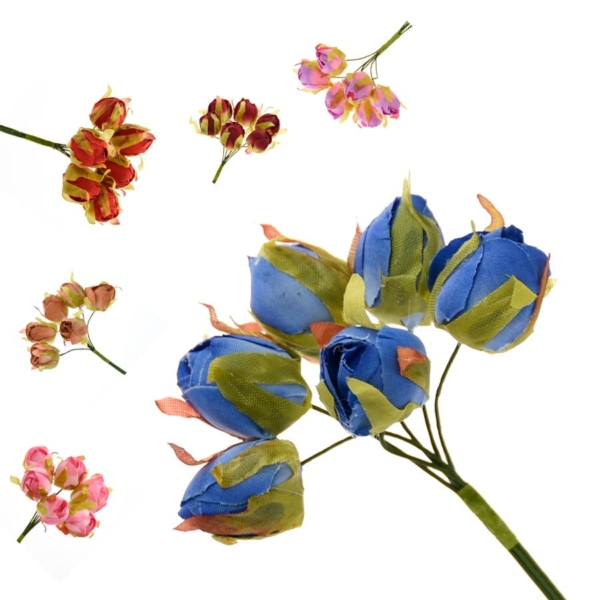 Ramillete Carmen con rosas realizadas en tela