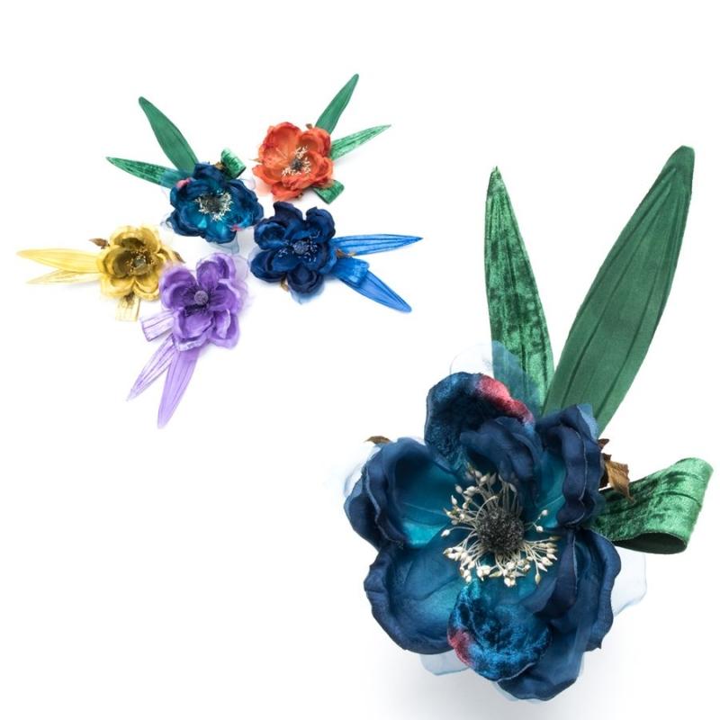 Flor Magnolia, accesorio de organza, seda y terciopelo