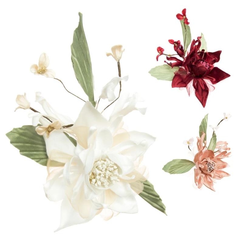 Flor Telma, montaje floral en raso de seda y organza