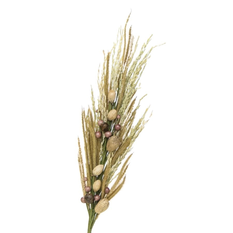 Montaje Alida Preservadas, realizado con ramas de trigo y flores preservadas