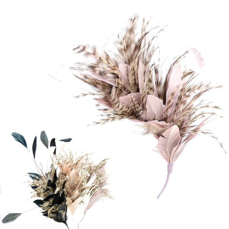 Pomo Diot, con antena de gallo y pluma fina de gallo bicolor,