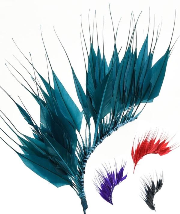 Pomo Punta Flecha, elaborado con plumas de pavo en forma de puntas