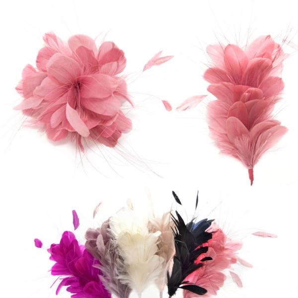 Pomo o maxi flor hindi montaje de plumas